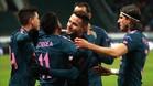 Los jugadores del Atlético celebran el tanto de Correa