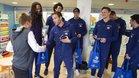 Los jugadores del Barça Lassa durante su visita al Hospital Sant Pau
