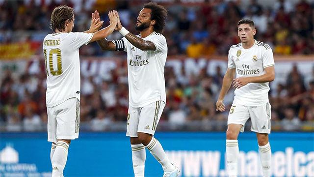 Marcelo adelantó en el marcador al Madrid tras un magistral pase de Modric