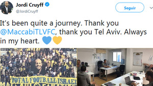 El mensaje de despedida de Jordi Cruyff del Maccabi Tel Aviv