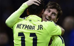 Messi, celebrando el 0-1 de Neymar