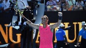 Rafa Nadal, celebrando su primera victoria en el Open de Australia