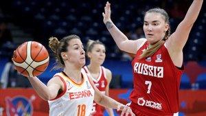 Casas, jugando con España ante Rusia