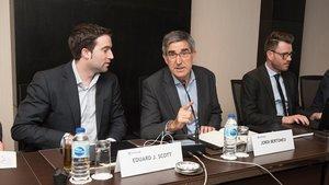 Eduard Scott (izquierda) junto al CEO de la Euroliga, Jordi Bertomeu