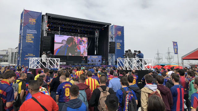 La Fan Zone reúne al barcelonismo antes de la final