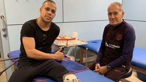 Ferrao, junto a su técnico en el FC Barcelona, Andreu Plaza