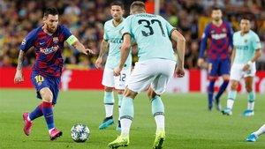 Leo Messi, en acción durante el Barça-Inter de la Champions 2019/20
