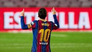 Leo Messi celebra un gol en LaLiga
