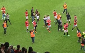 Los jugadores del Nàstic celebran la primera plaza