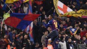 Malcom celebra el gol del empate en la ida de la Copa