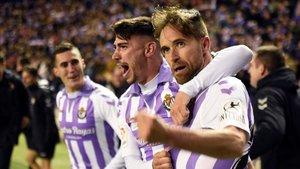 Míchel Herrero celebra el gol que hizo caer al Girona en Valladolid.