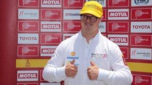 Lucas Barron, durante la presentación del rally Dakar