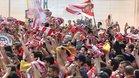 La afición del Girona responde a su llegada contra el Sevilla