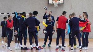 El Barça Lassa, en un entrenamiento en el Bergischer Ring de Colonia