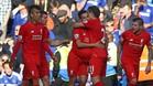 Coutinho celebra con Lucas Leiva un gol, en su etapa en el Liverpool