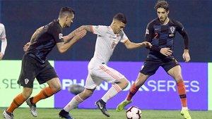 Dani Ceballos en acción durante el Croacia-España de la Nations League