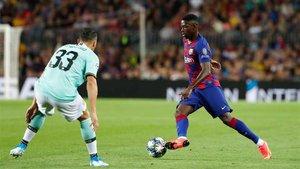 Dembélé activó el ataque blaugrana desde la banda izquierda