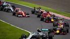 Hamilton pasó de 2º a 8º en la salida del GP de Japón