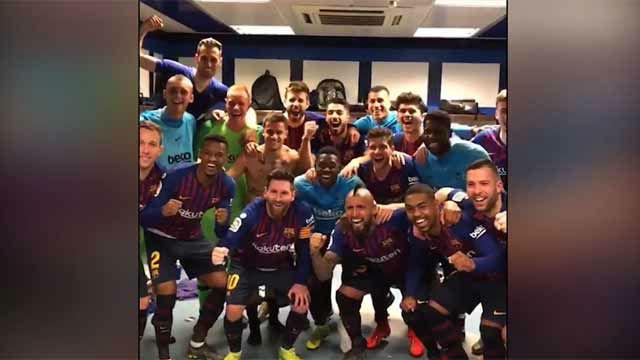 Las imágenes de la celebración del Barça en los vestuarios del Bernabéu