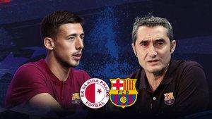 Lenglet y Valverde hablan ante los medios desde Praga