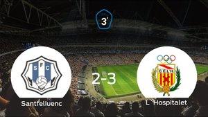 El LHospitalet suma tres puntos a su casillero frente al Santfeliuenc (2-3)