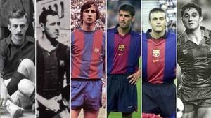 Los seis jugadores del FC Barcelona que han ganado la Copa en el campo y en el banquillo: Forns, Balmanya, Cruyff, Guardiola, Luis Enrique y Valverde