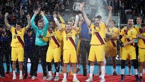 La plantilla del Barça celebró un nuevo título de Copa
