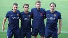 Rubi junto a Tito Vilanova, Jaume Torras y Jordi Melero en su etapa en el FC Barcelona