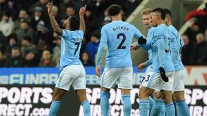 Sterling celebró así el único gol del partido