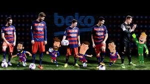 Turan, Piqué, Messi, Luis Suárez y Ter Stegen posan con sus dobles animados