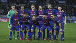La alineación del Barça frente a la Real Sociedad en el partido de la Liga 2017/18 en Anoeta