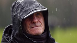 Anquela, en una sesión de entrenamiento bajo la lluvia