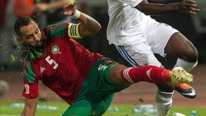 El capitán y defensa de Marruecos Medhi Benatia en el partido ante el Gabón