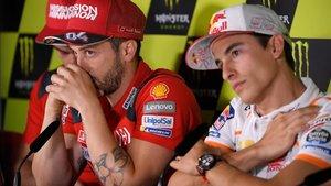 Dovizioso y Márquez durante una rueda de prensa