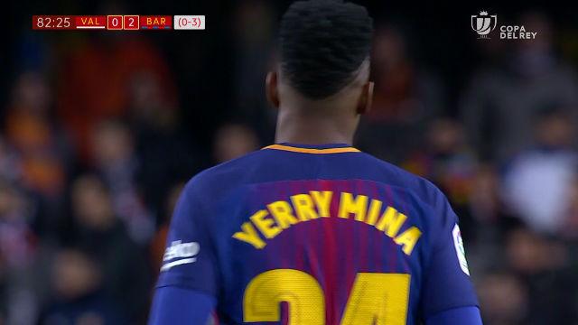 LACOPA | Valencia - FC Barcelona (0-2): Así fue el momento del debut de Yerry Mina