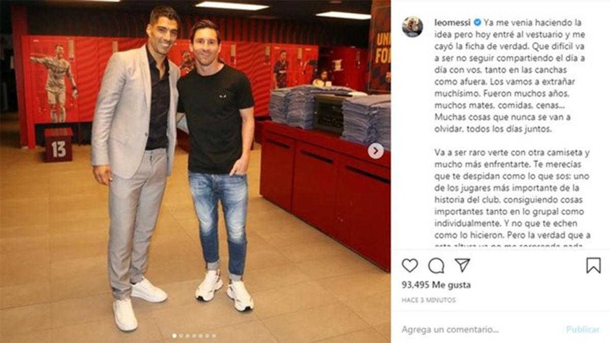 Messi sobre el adiós de Luis Suárez: A esta altura, ya no me sorprende nada