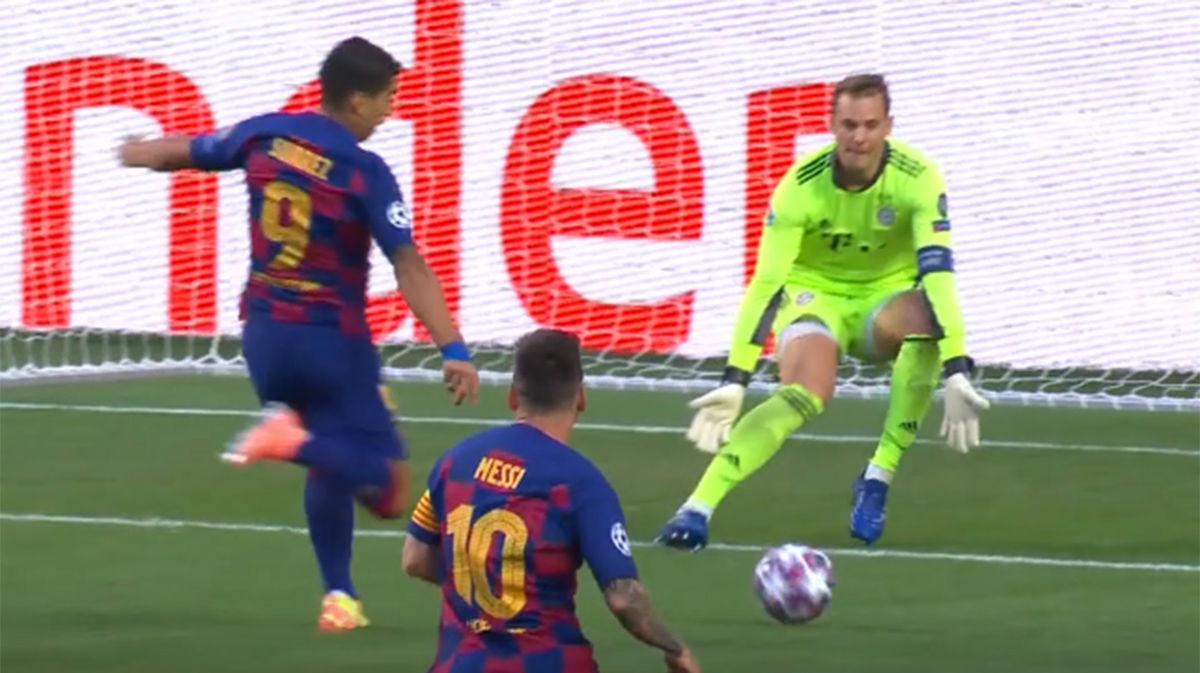 Neuer tapó bien la portería a disparo de Suárez