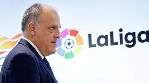 El presidente de LaLiga, Javier Tebas, en un acto del organismo
