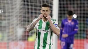 Rubén Castro celebrando uno de sus últimos goles con la elástica verdiblanca