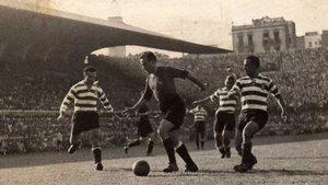 Una imagen de Florencio con la camiseta del Barça, el 8 de septiembre de 1948, durante un amistoso contra el Sporting de Lisboa (4-1)