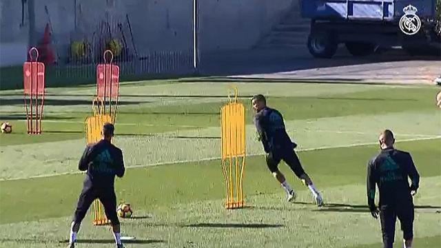 Bale, aunsente en el último entrenamiento del Madrid
