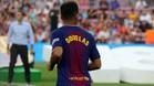 Douglas durante la presentación del Barça 17/18