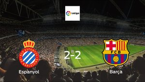 Espanyol and Barcelona ended the game with a 2-2 draw at Rcde Stadium