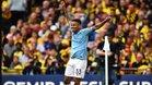 Gabriel Jesus celebra un gol anotado en la final de la FA Cup