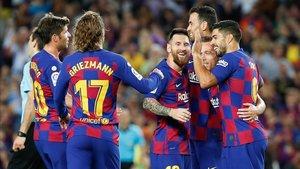 Griezmann, Messi y Suárez