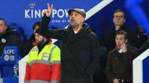 Guardiola, en un momento del Leicester-City de este martes (1-1) en partido de la EFL Cup (Carabao Cup)