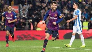 Leo Messi celebra el gol ante el Leganés que le devuelve el liderato en la Bota de Oro