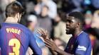 Piqué no ve a Umtiti fuera del Barça