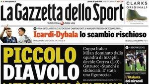 La portada del diario italiano Gazzetta dello Sport