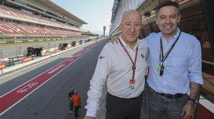 El presidente del FC Barcelona, Josep Maria Bartomeu, en el Circuit de Catalunya junto a Manel Arroyo